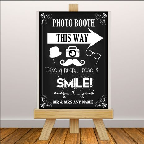 Personalised Vintage Wedding Photo Booth Sign Poster Banner - Chalkboard Style Print N113